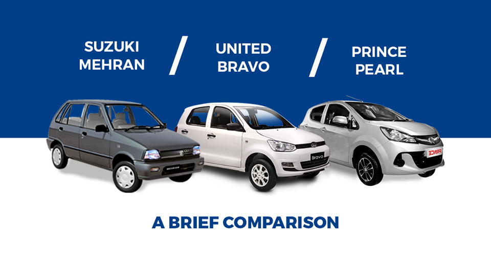 Detailed Comparison of Suzuki Mehran, United Bravo, and Prince Pearl